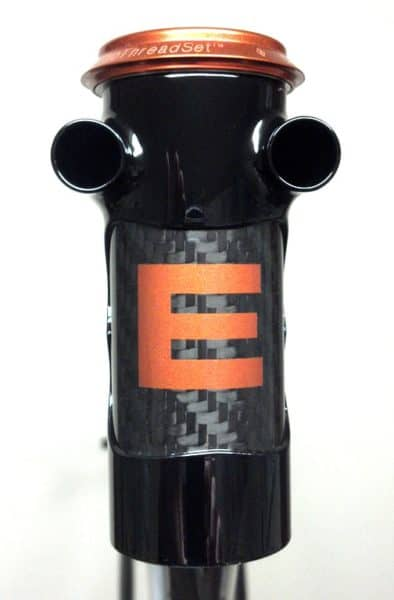 headtube detail showing the holes for the two housings to run through