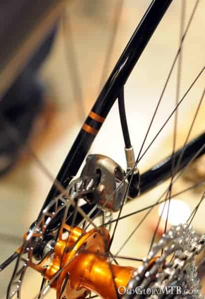 brake line exiting the seatstay