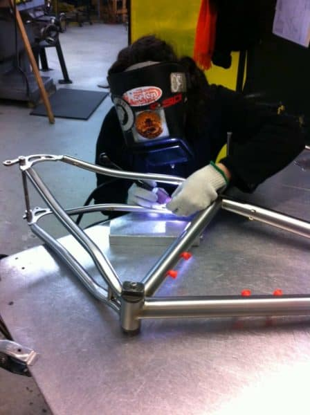 Seven Cycles frame builder at work